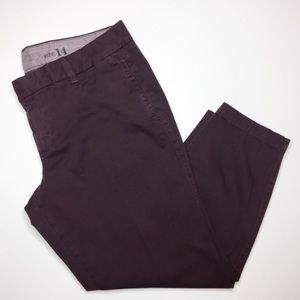 J.Crew Scout cropped pants eggplant purple size 14